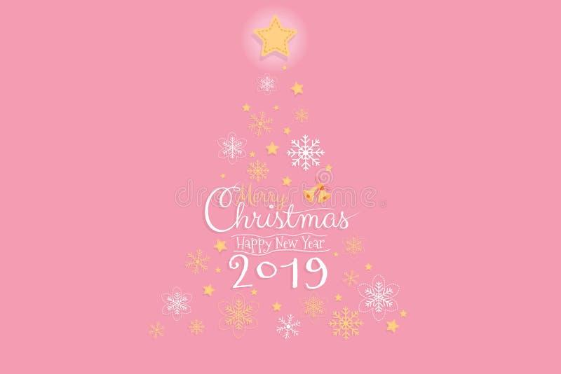 Χαρούμενα Χριστούγεννα και ευχετήρια κάρτα καλής χρονιάς 2019 Χειρόγραφο χεριών καλλιγραφίας επίσης corel σύρετε το διάνυσμα απει ελεύθερη απεικόνιση δικαιώματος