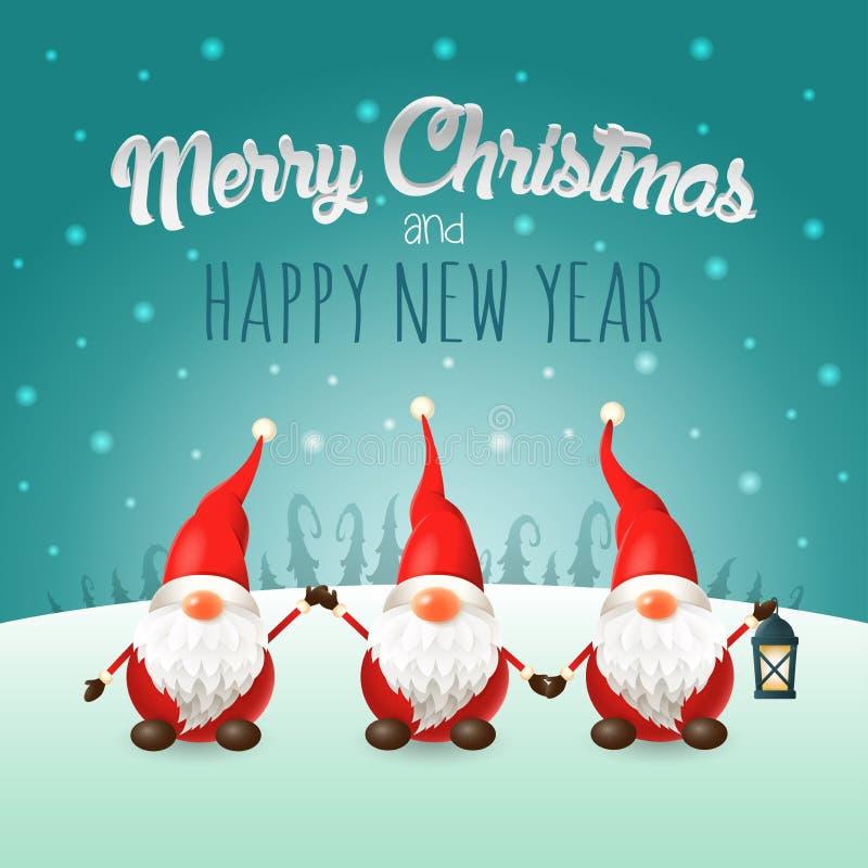 Χαρούμενα Χριστούγεννα και ευχετήρια κάρτα καλής χρονιάς - Σκανδιναβικά στοιχειά στο χειμερινό τοπίο ελεύθερη απεικόνιση δικαιώματος