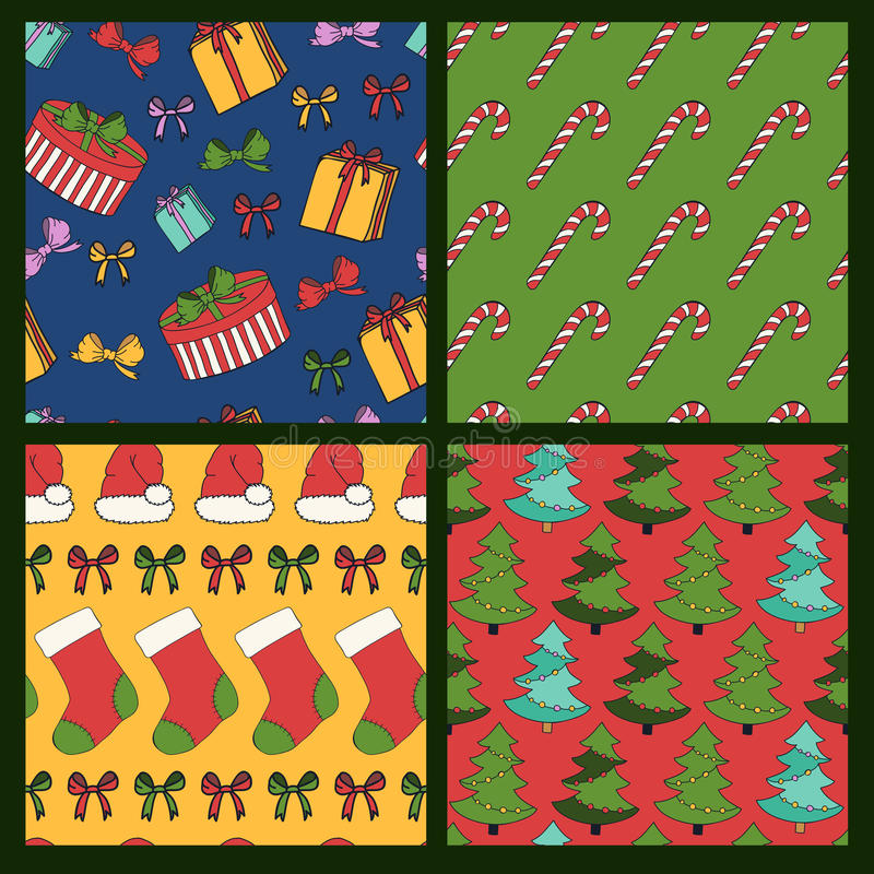 Χαρούμενα Χριστούγεννα και ζωηρόχρωμο άνευ ραφής υπόβαθρο καλής χρονιάς απεικόνιση αποθεμάτων