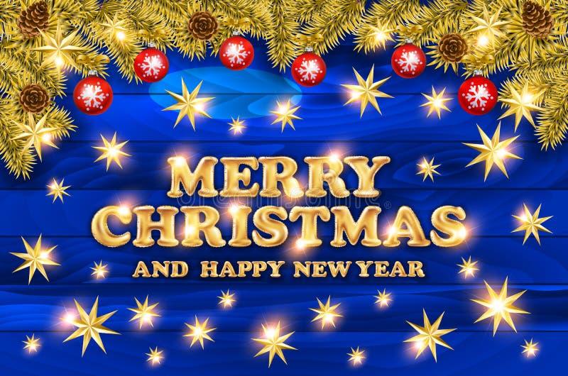 2018 Χαρούμενα Χριστούγεννα και κάρτα καλής χρονιάς με τις σφαίρες Χριστουγέννων και serpentine στο ξύλινο υπόβαθρο Χρυσό σχέδιο  διανυσματική απεικόνιση