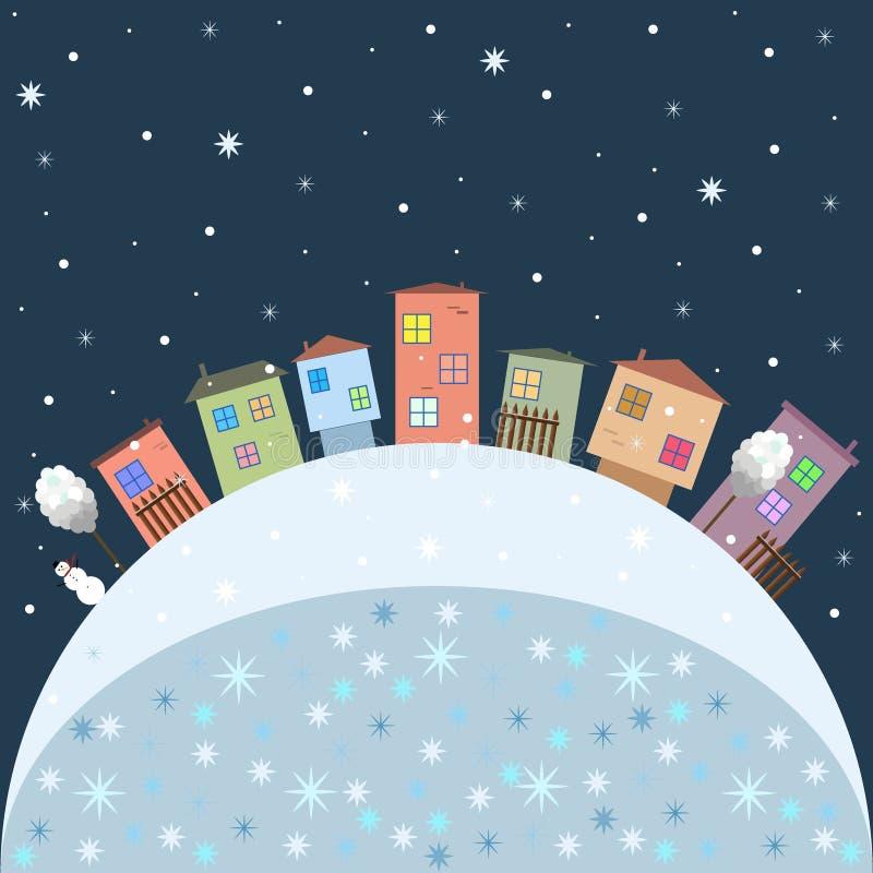 Χαρούμενα Χριστούγεννα και κάρτα καλής χρονιάς με τα ζωηρόχρωμα σπίτια απεικόνιση αποθεμάτων