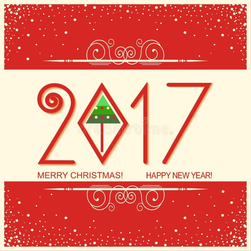 Χαρούμενα Χριστούγεννα και κάρτα καλής χρονιάς με το κείμενο διανυσματικό greetin διανυσματική απεικόνιση