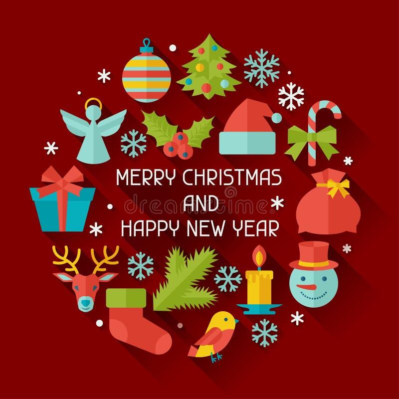 Χαρούμενα Χριστούγεννα και κάρτα πρόσκλησης καλής χρονιάς διανυσματική απεικόνιση