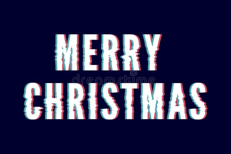 Χαρούμενα Χριστούγεννα και καλή χρονιά 2019, δημιουργική ευχετήρια κάρτα ή ετικέτα με το θέμα δυσλειτουργίας στο μαύρο διανυσματι απεικόνιση αποθεμάτων