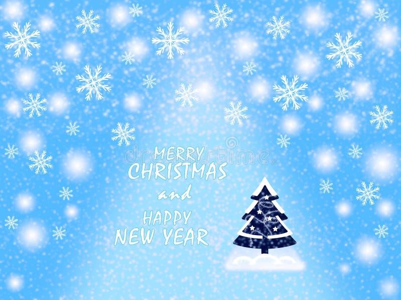 Χαρούμενα Χριστούγεννα και καλή χρονιά, ευχετήρια κάρτα, στα μπλε και άσπρα χρώματα διανυσματική απεικόνιση
