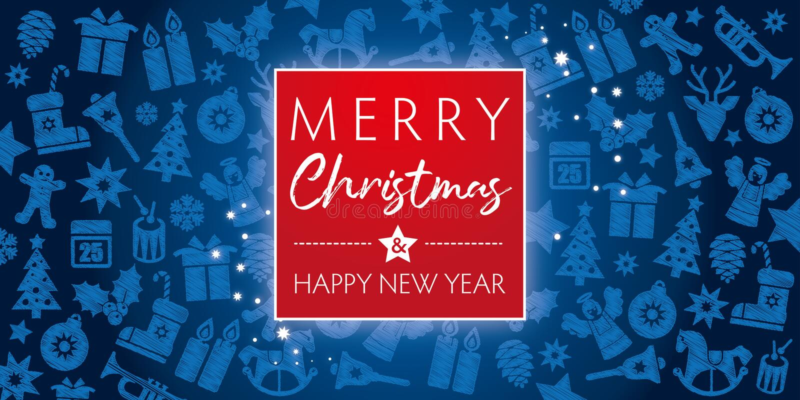 Χαρούμενα Χριστούγεννα και καλή χρονιά ευχετήριων καρτών διανυσματική απεικόνιση
