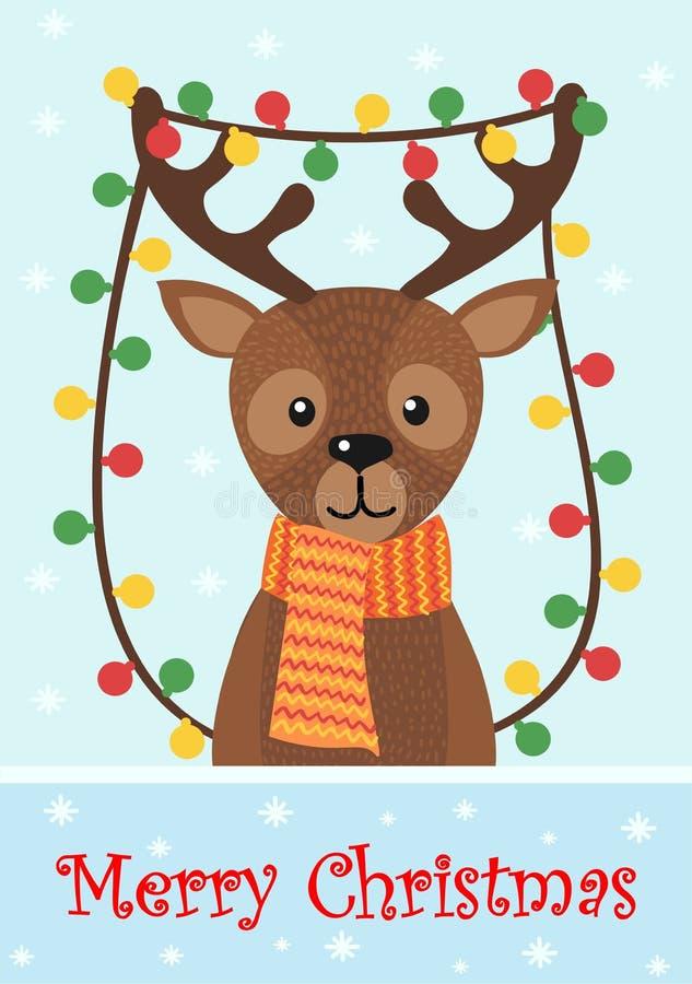 Χαρούμενα Χριστούγεννα και καλή χρονιά Κάρτα Χριστουγέννων με τα ελάφια και το χιόνι διανυσματική απεικόνιση
