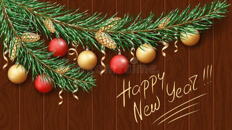 Χαρούμενα Χριστούγεννα και καλή χρονιά 2019 Πράσινος κλάδος ενός δέντρου στο χιόνι διακοσμήσεις Χριστουγέννων εορταστικές διανυσματική απεικόνιση