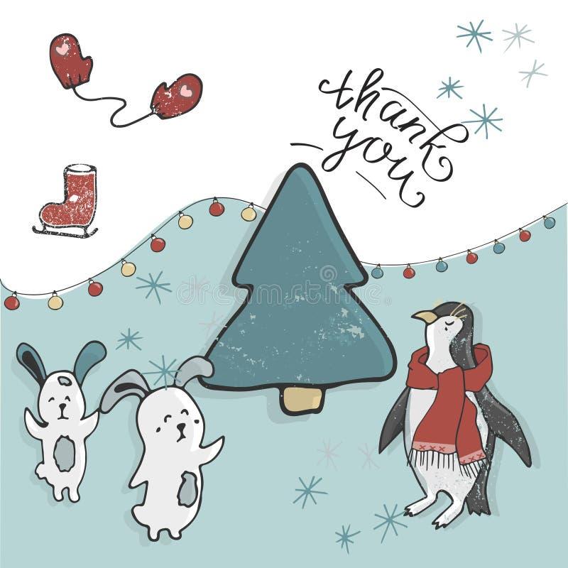 Χαρούμενα Χριστούγεννα και καλή χρονιά Χαριτωμένα ζώα Penguin, χαρακτήρας Χριστουγέννων λαγουδάκι Ευτυχής κάρτα Χριστουγέννων στη ελεύθερη απεικόνιση δικαιώματος