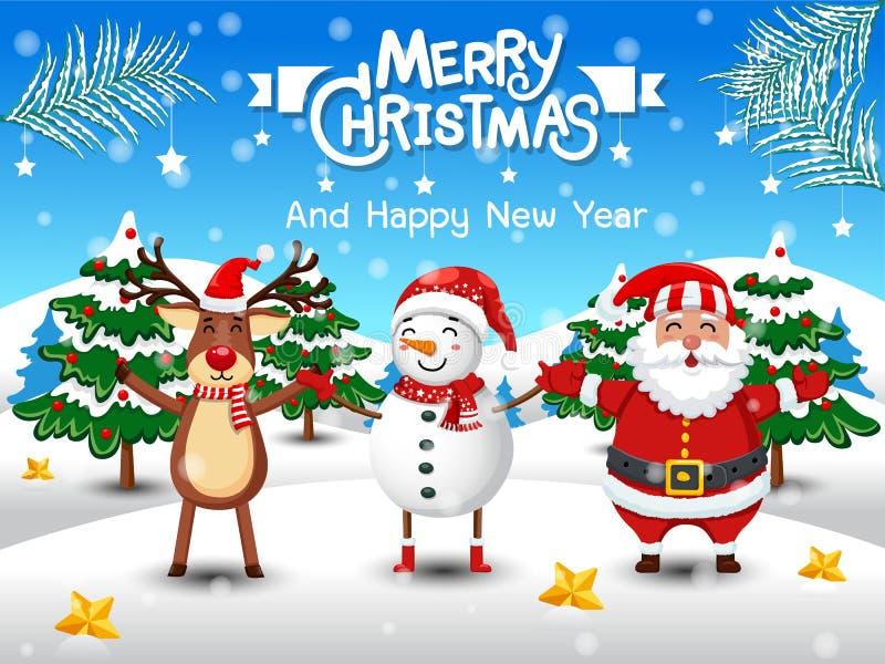 Χαρούμενα Χριστούγεννα και καλή χρονιά Χαριτωμένος χιονάνθρωπος, τάρανδος, Άγιος Βασίλης στο χειμερινό τοπίο σκηνής χιονιού Χριστ διανυσματική απεικόνιση