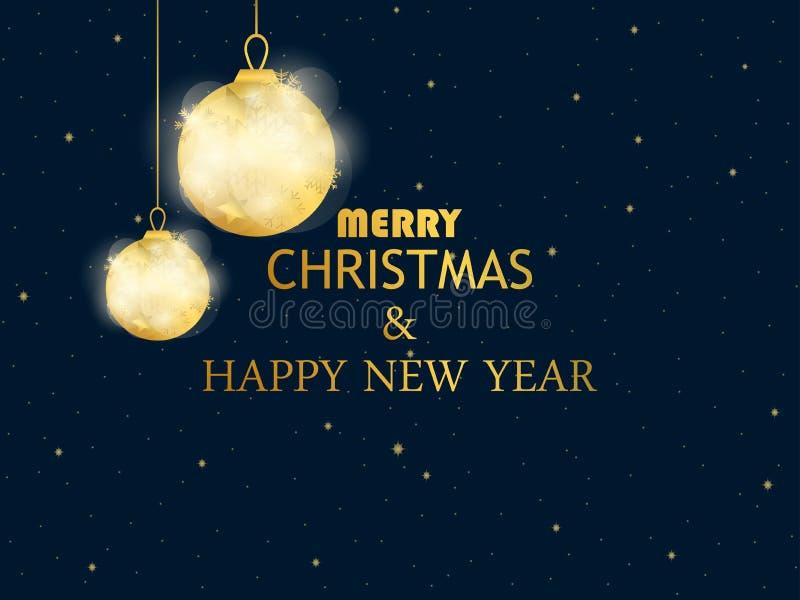 Χαρούμενα Χριστούγεννα και καλή χρονιά Χρυσές σφαίρες Χριστουγέννων στη μαύρη ανασκόπηση Χρυσή κλίση Πρότυπο σχεδίου ευχετήριων κ διανυσματική απεικόνιση