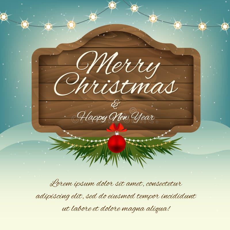 Χαρούμενα Χριστούγεννα και καλή χρονιά επιβιβαστείτε στο σημάδι ξύλινο Διανυσματική GR απεικόνιση αποθεμάτων