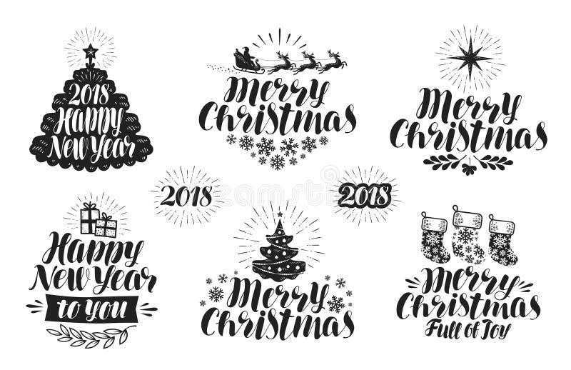 Χαρούμενα Χριστούγεννα και καλή χρονιά, σύνολο ετικετών Χριστούγεννα, εικονίδιο διακοπών ή λογότυπο Γράφοντας, τυπογραφικό διάνυσ διανυσματική απεικόνιση
