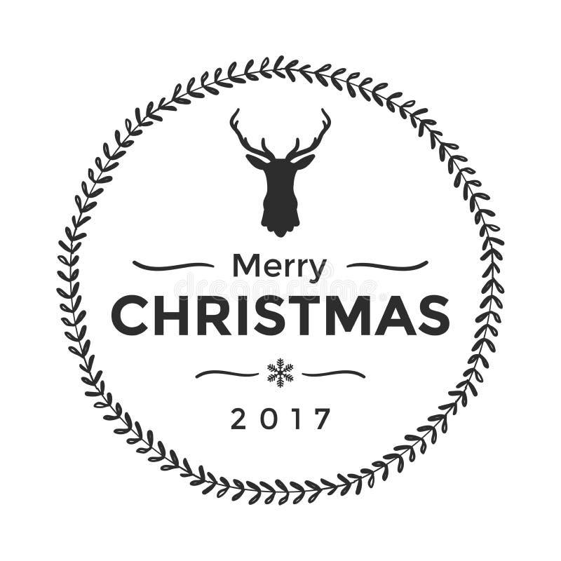 Χαρούμενα Χριστούγεννα και καλή χρονιά τυπογραφικές Διανυσματικό λογότυπο, τυπογραφία απεικόνιση αποθεμάτων