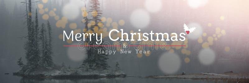 Χαρούμενα Χριστούγεννα και κείμενο καλής χρονιάς στο υπόβαθρο χιονιού, bokeh στοκ φωτογραφία με δικαίωμα ελεύθερης χρήσης