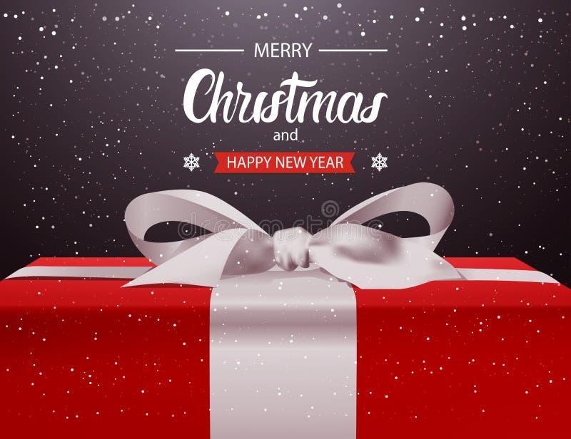 Χαρούμενα Χριστούγεννα και κόκκινο κιβώτιο δώρων υποβάθρου καλής χρονιάς με το άσπρο σχέδιο ευχετήριων καρτών διακοπών τόξων κορδ διανυσματική απεικόνιση