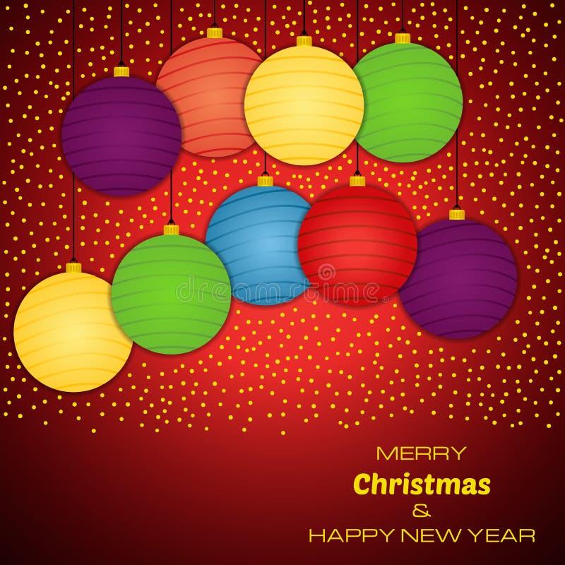 Χαρούμενα Χριστούγεννα και κόκκινο υπόβαθρο καλής χρονιάς με εννέα ζωηρόχρωμες σφαίρες Χριστουγέννων ελεύθερη απεικόνιση δικαιώματος