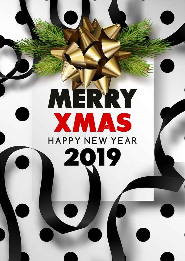 Χαρούμενα Χριστούγεννα και μαύρη χιονώδης αφίσα καλής χρονιάς 2019 διανυσματική απεικόνιση