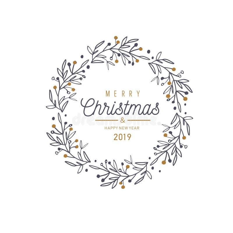 Χαρούμενα Χριστούγεννα και νέα διανυσματική κάρτα έτους, έμβλημα, υπόβαθρο ελεύθερη απεικόνιση δικαιώματος