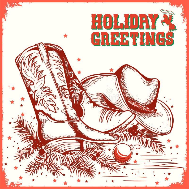 Χαρούμενα Χριστούγεννα και νέα κάρτα έτους με την μπότα κάουμποϋ και το δυτικό χ ελεύθερη απεικόνιση δικαιώματος