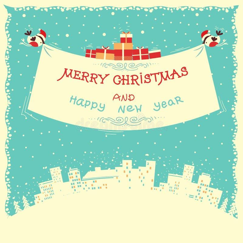Χαρούμενα Χριστούγεννα και νέα κάρτα έτους με το πέταγμα bullfinches ελεύθερη απεικόνιση δικαιώματος