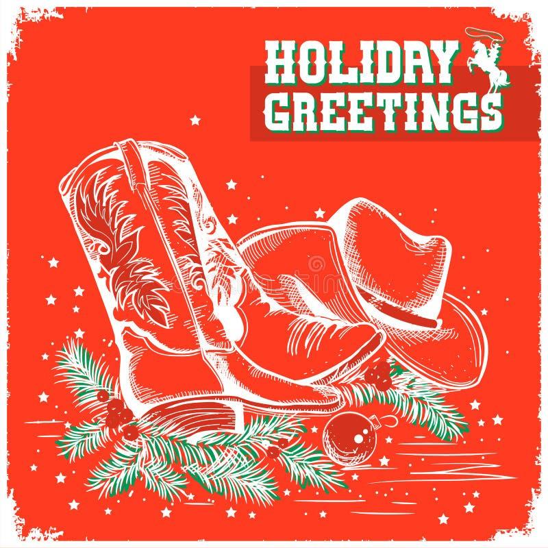Χαρούμενα Χριστούγεννα και νέα κόκκινη κάρτα έτους με την μπότα κάουμποϋ και weste ελεύθερη απεικόνιση δικαιώματος