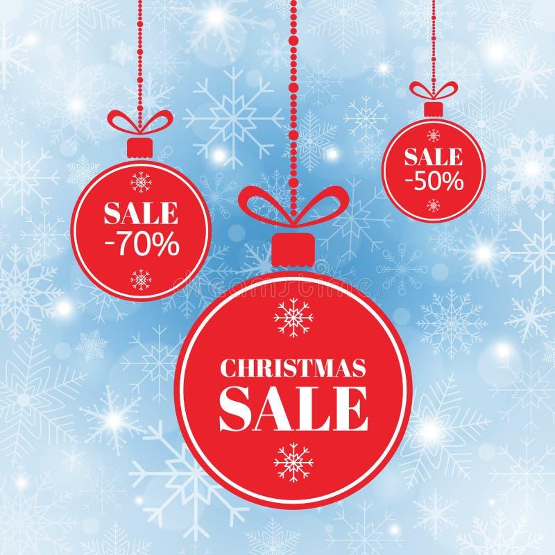 Χαρούμενα Χριστούγεννα και νέα πώληση σφαιρών έτους Κόκκινες σφαίρες Χριστουγέννων με την πώληση σημαδιών, ειδική προσφορά Έμβλημ ελεύθερη απεικόνιση δικαιώματος
