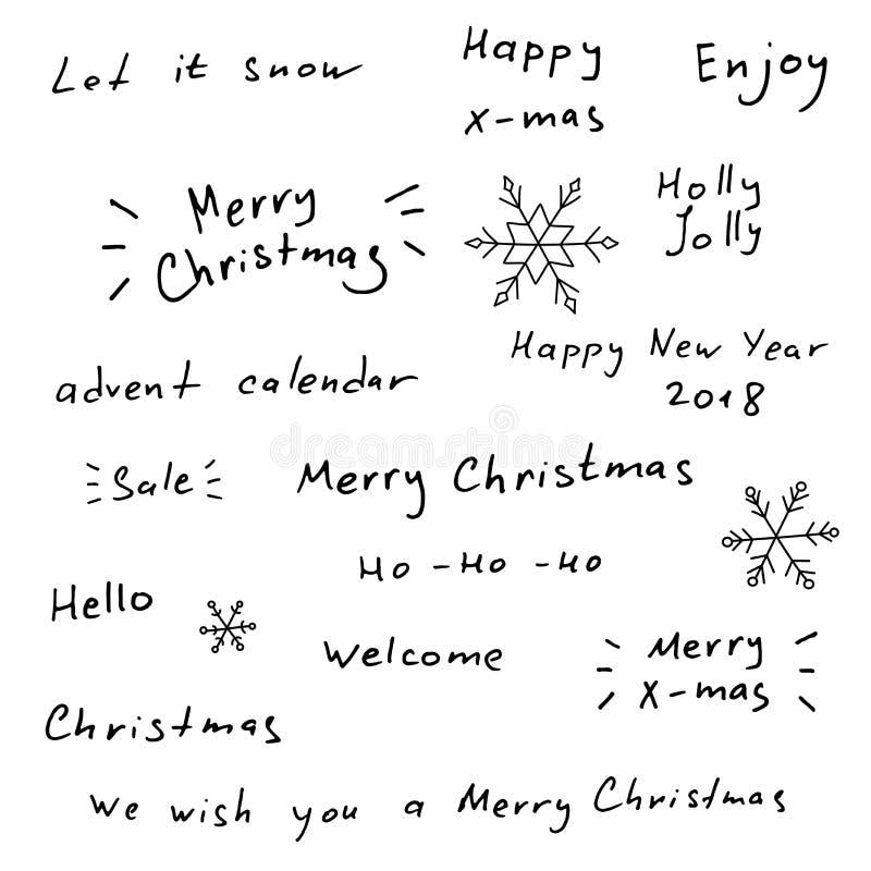 Χαρούμενα Χριστούγεννα και νέα συρμένη χέρι εγγραφή έτους διανυσματική απεικόνιση