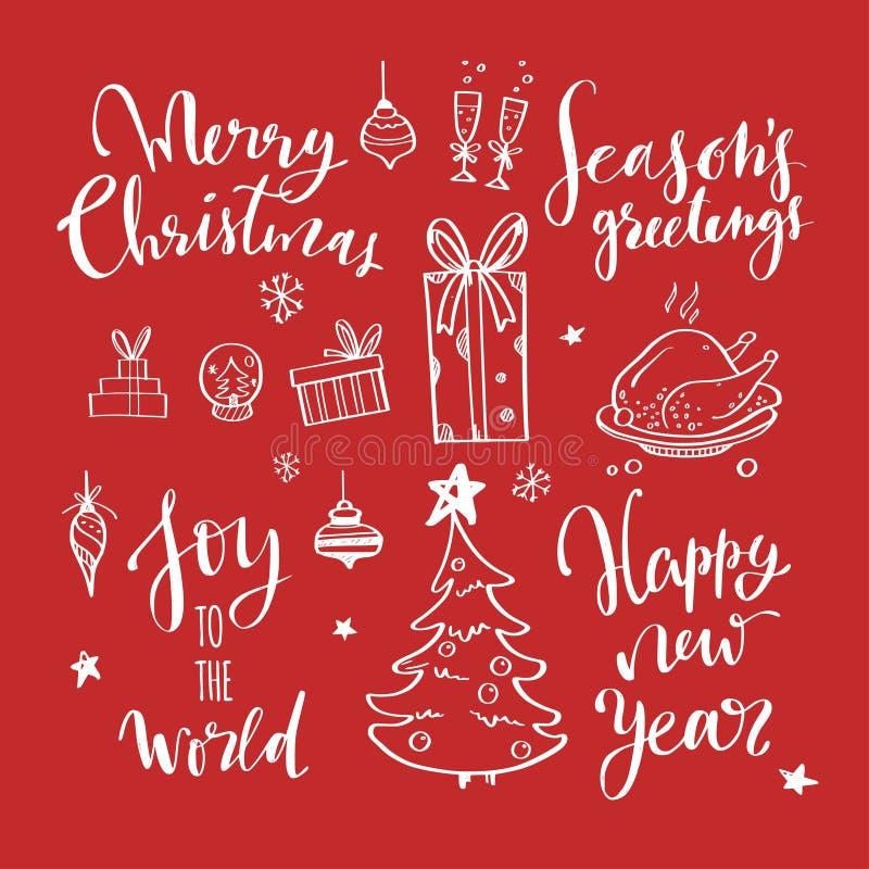 Χαρούμενα Χριστούγεννα και νέες λέξεις έτους στη διακόσμηση χριστουγεννιάτικων δέντρων Διανυσματική συρμένη χέρι εγγραφή διανυσματική απεικόνιση