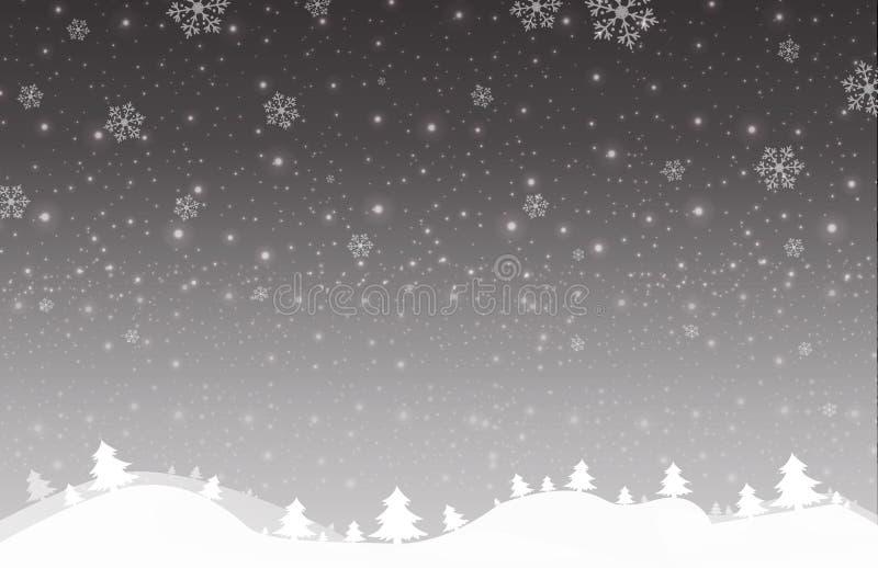 Χαρούμενα Χριστούγεννα και νέο έτος γκρίζου χιονιού ουρανού υποβάθρου αστεριών ελαφριού διανυσματική απεικόνιση