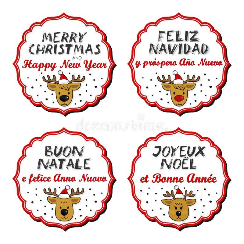 Χαρούμενα Χριστούγεννα και πολύγλωσσα διακριτικά ταράνδων καλής χρονιάς διανυσματική απεικόνιση