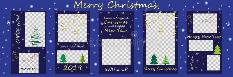 Χαρούμενα Χριστούγεννα και πώληση καλής χρονιάς, ιστορίες Instagram templ διανυσματική απεικόνιση