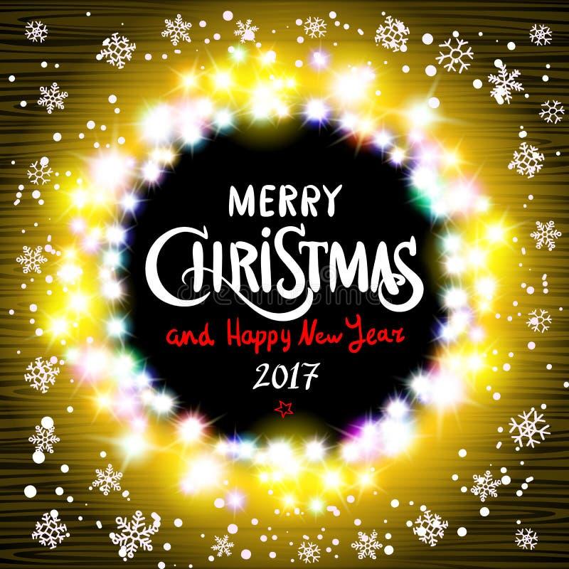 Χαρούμενα Χριστούγεννα και ρεαλιστικές εξαιρετικά ζωηρόχρωμες ελαφριές γιρλάντες καλής χρονιάς 2017 διανυσματική απεικόνιση