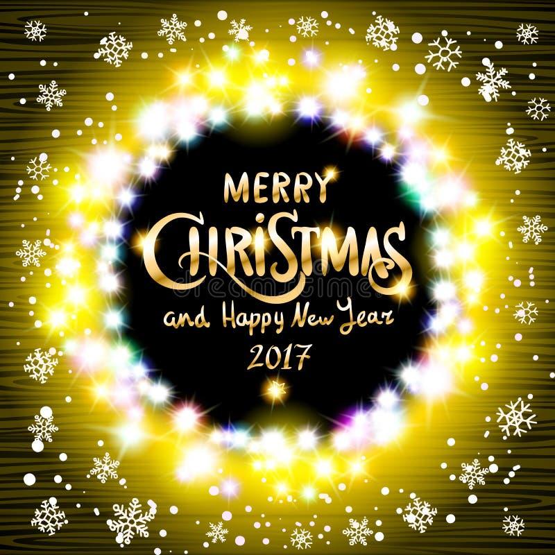 Χαρούμενα Χριστούγεννα και ρεαλιστικές εξαιρετικά κίτρινες ζωηρόχρωμες ελαφριές γιρλάντες καλής χρονιάς 2017 όπως το στρογγυλό πλ διανυσματική απεικόνιση