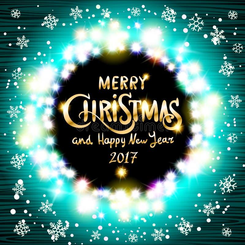 Χαρούμενα Χριστούγεννα και ρεαλιστικές εξαιρετικά μπλε ζωηρόχρωμες ελαφριές γιρλάντες καλής χρονιάς 2017 όπως το στρογγυλό πλαίσι ελεύθερη απεικόνιση δικαιώματος