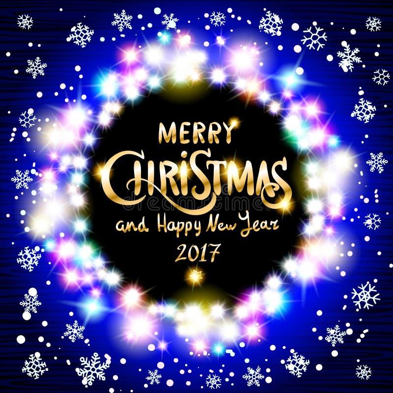 Χαρούμενα Χριστούγεννα και ρεαλιστικές εξαιρετικά μπλε ζωηρόχρωμες ελαφριές γιρλάντες καλής χρονιάς 2017 όπως το στρογγυλό πλαίσι διανυσματική απεικόνιση