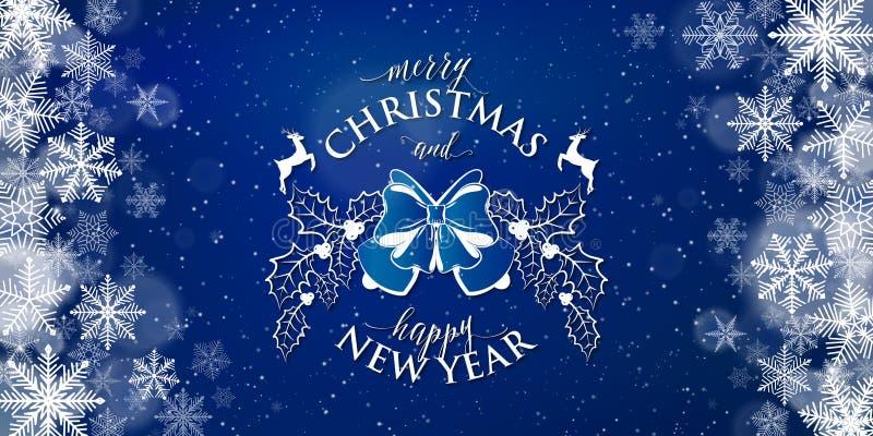 Χαρούμενα Χριστούγεννα και σημάδι κειμένων τυπογραφίας καλής χρονιάς στο μπλε υπόβαθρο ελεύθερη απεικόνιση δικαιώματος