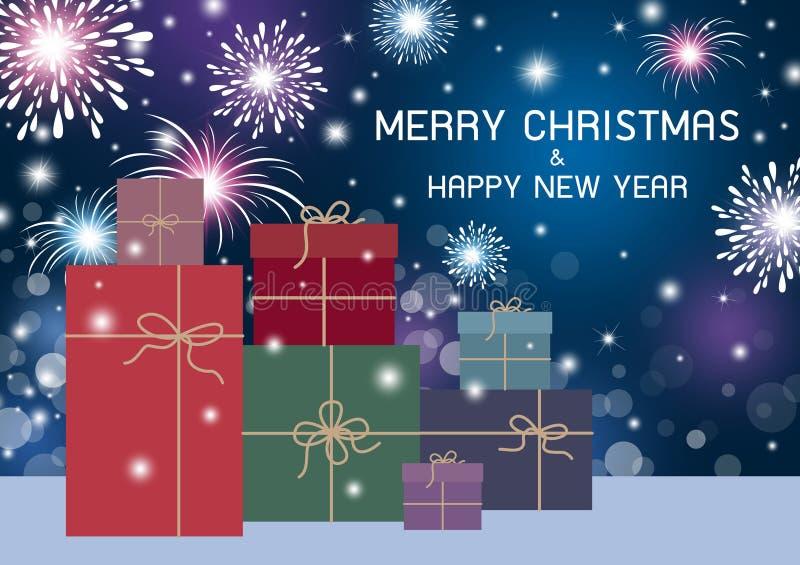 Χαρούμενα Χριστούγεννα και σχέδιο καλής χρονιάς διανυσματική απεικόνιση