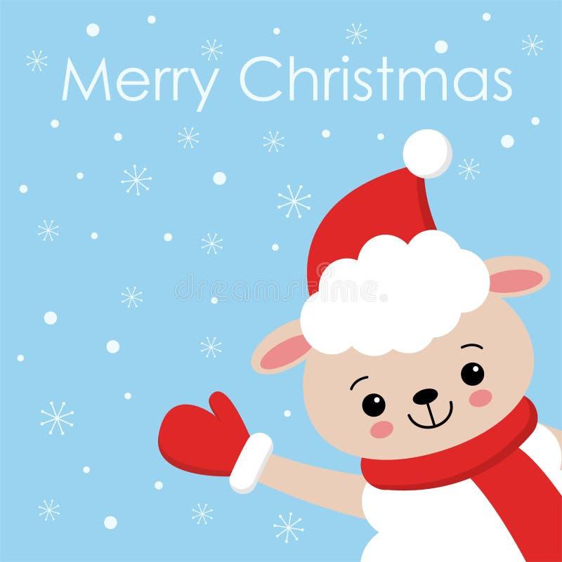 Χαρούμενα Χριστούγεννα και σχέδιο καρτών καλής χρονιάς Αστείος χαρακτήρας προβάτων kawaii στο καπέλο santa στη χειμερινή απεικόνι διανυσματική απεικόνιση