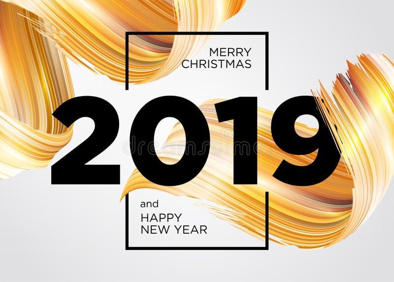2019 Χαρούμενα Χριστούγεννα και σχέδιο καρτών καλής χρονιάς απεικόνιση αποθεμάτων
