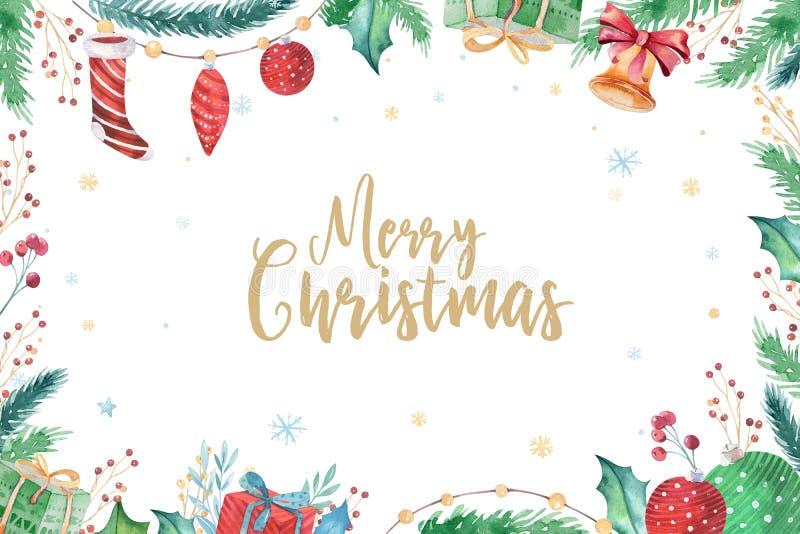 Χαρούμενα Χριστούγεννα και σύνολο διακοσμήσεων καλής χρονιάς 2019 χειμερινό Υπόβαθρο διακοπών Watercolor Κάρτα στοιχείων Χριστουγ
