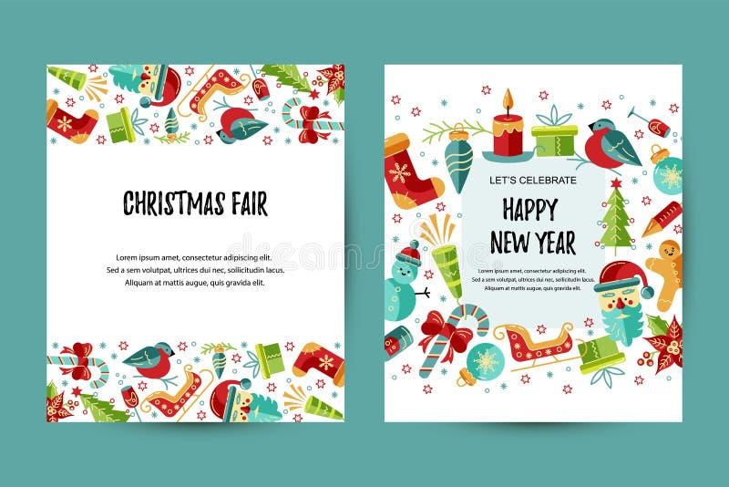 Χαρούμενα Χριστούγεννα και σύνολο καρτών καλής χρονιάς ελεύθερη απεικόνιση δικαιώματος