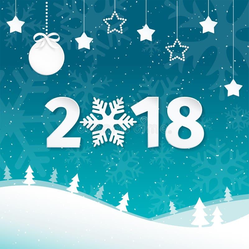 2018 Χαρούμενα Χριστούγεννα και υπόβαθρο ευχετήριων καρτών καλής χρονιάς με snowflakes Επίπεδο υπόβαθρο τοπίων χειμερινής σκηνής απεικόνιση αποθεμάτων
