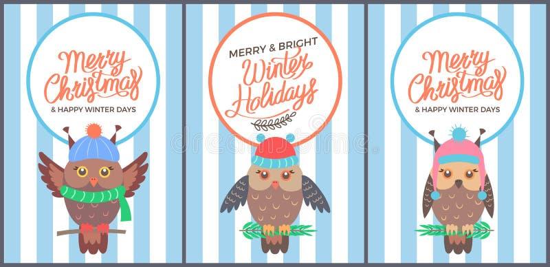 Χαρούμενα Χριστούγεννα και φωτεινή κάρτα της δεκαετίας του '60 χειμερινών ημερών διανυσματική απεικόνιση