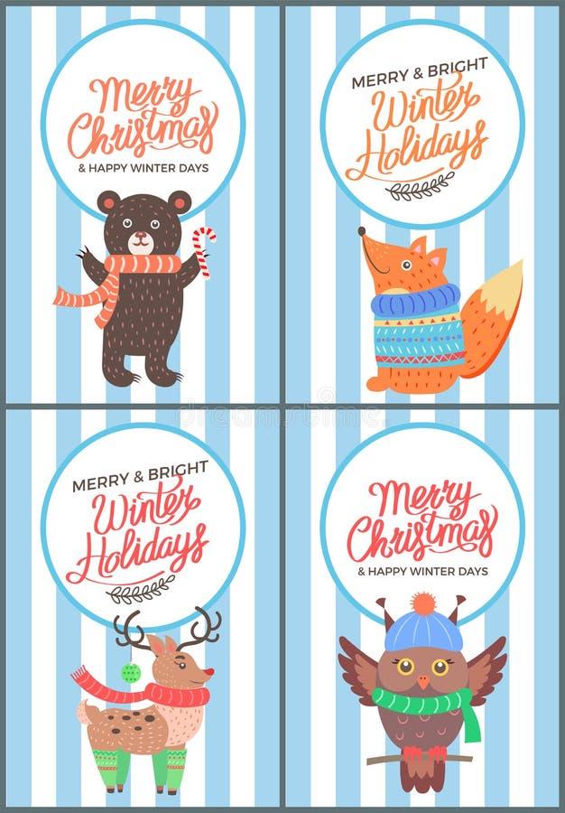 Χαρούμενα Χριστούγεννα και φωτεινή κάρτα της δεκαετίας του '70 χειμερινών ημερών ελεύθερη απεικόνιση δικαιώματος