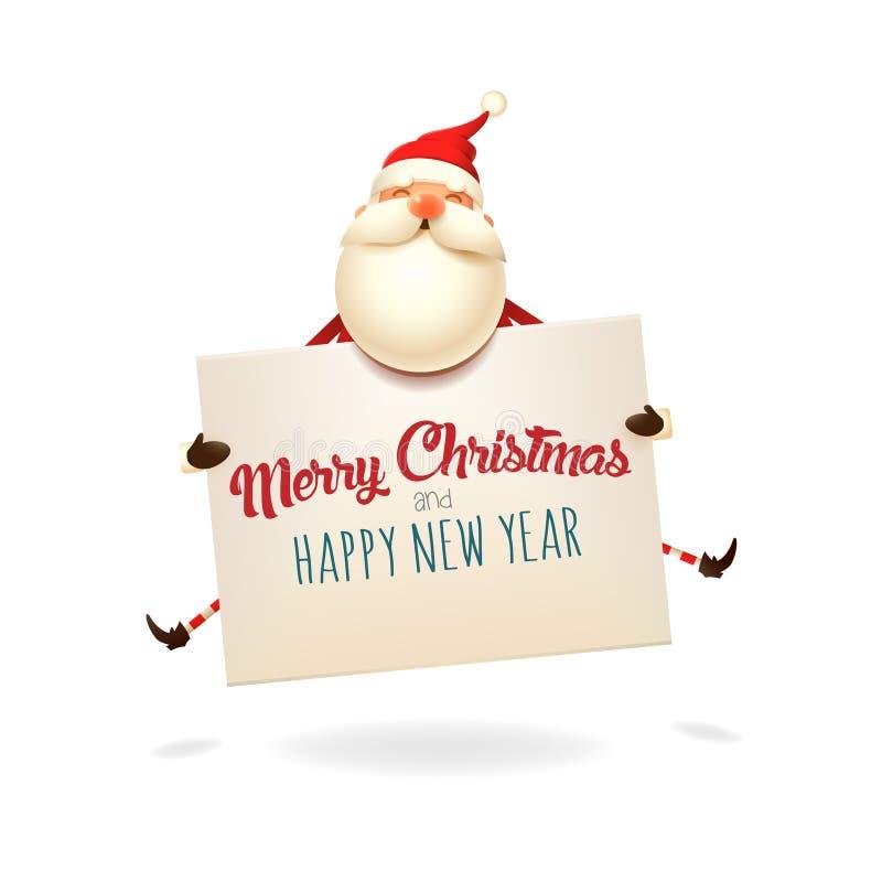 Χαρούμενα Χριστούγεννα και χαιρετισμός καλής χρονιάς - Άγιος Βασίλης που πηδά με τον πίνακα ελεύθερη απεικόνιση δικαιώματος