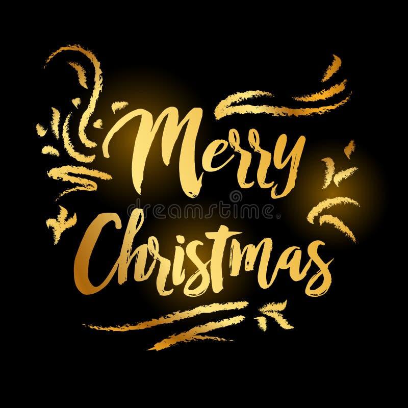 Χαρούμενα Χριστούγεννα και χρυσός καλής χρονιάς 2019 στο μαύρο υπόβαθρο διανυσματική απεικόνιση
