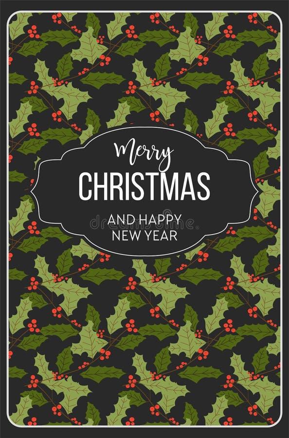 Χαρούμενα Χριστούγεννα καλή χρονιά, άνευ ραφής σχέδιο γκι απεικόνιση αποθεμάτων