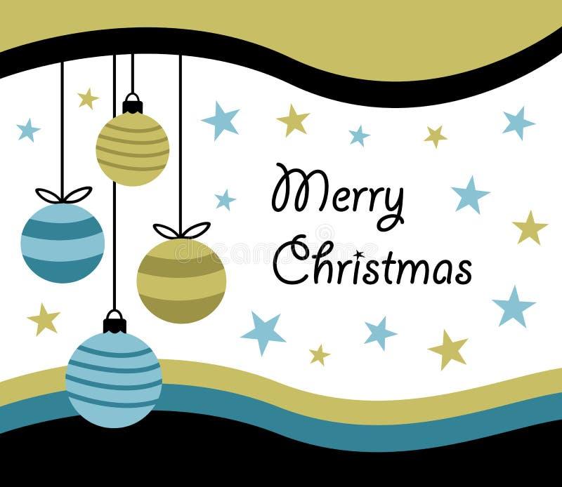 Χαρούμενα Χριστούγεννα καλή χρονιά, σχέδιο ευχετήριων καρτών με τέσσερα κρεμώντας μπιχλιμπίδια σφαιρών Χριστουγέννων στο απλό επί διανυσματική απεικόνιση