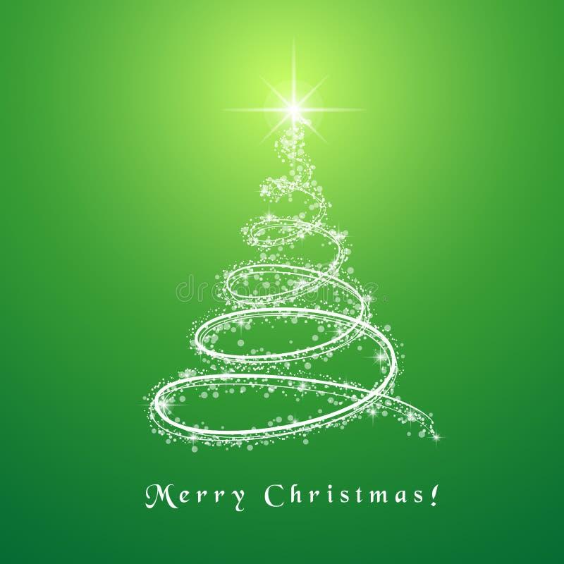 Χαρούμενα Χριστούγεννα με το λάμποντας δέντρο ελεύθερη απεικόνιση δικαιώματος
